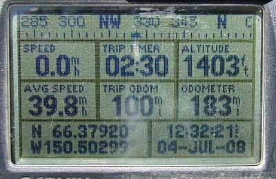 MP100:  N66.37920, W150.50299, Elev: 1403'