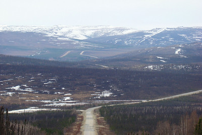 Looking south across the valleys and swamps, with the pipeline and highway both snaking their separate, but roughly parallel, ways across the sparsely forested topography toward the Finger Mt. Wayside which sits at the top of the grade in the upper left of the photo.