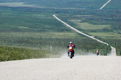 7/4/08 1:47 PM - A couple of dualsport bikes nearing the top of Beaver Slide.  They look to clean to have been all the way to Deadhorse - and not loaded down as most bikes making the entire distance would be.