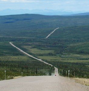 7/4/08 1:47 PM - From MP110 looking down Beaver Slide.  The Arctic Circle Wayside is just about where the highway disappears in the distance.