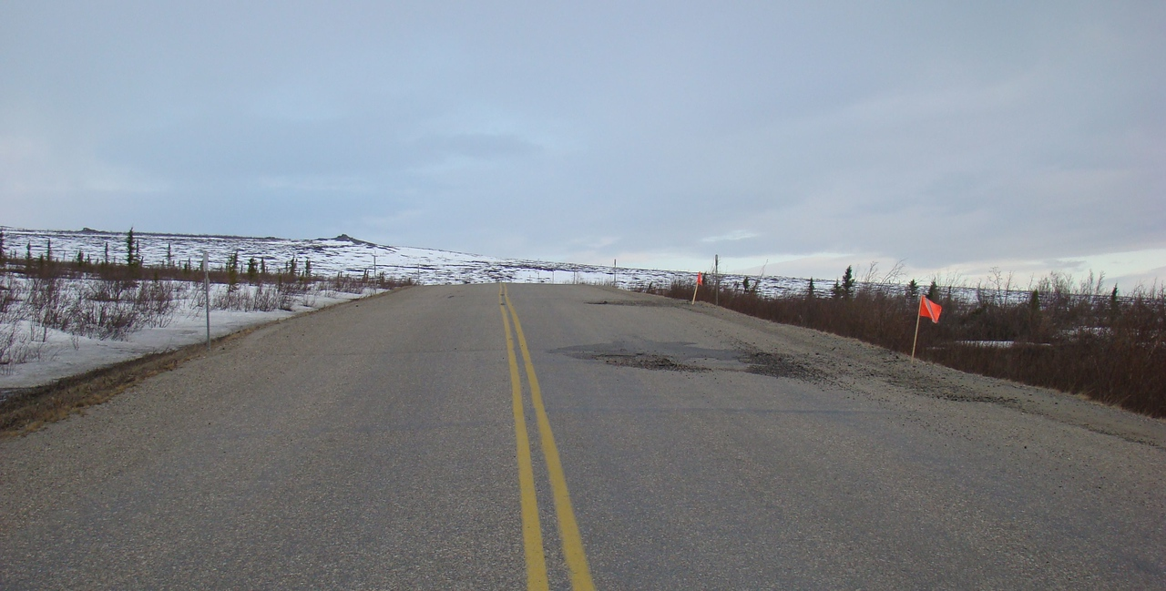 MP120 looking south.  These are just a sample of the pavement breaks that extend for another 40 miles north.