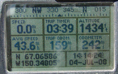 The GPS at MP160.  The trip odo. turned 160 shortly after pulling away. N67.06586, W150.34805, Elevation: 1434'