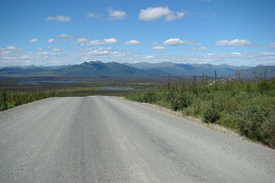 At MP160, facing the mountains of the Brooks Range to the northwest.