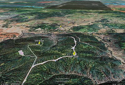 Another view from Google Earth, attempting to illustrate the elevation changes along the route.