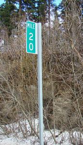 An actual milepost, on the right ascending (northbound).