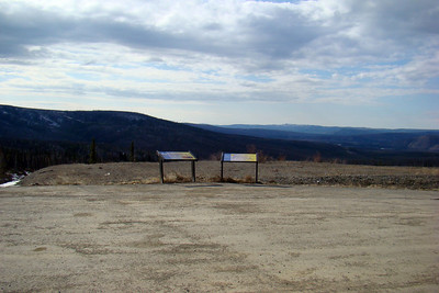 5/11/08  5:07 PM - This large parking area at MP20.9 provides a view to the west of the mountains in the distance, Hess Creek in the valley, and nearer, the old roadway that this paved one replaced.