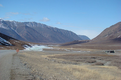 Looking down the Atigun River valley, with Atigun River #1 bridge visible on the right side of the photo.