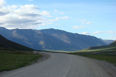 July 4, 2008 7:25 PM:  A few miles north of Atigun Pass, looking down the Atigun Valley.