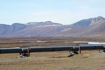 Again, from Mile 264.5, the Brooks Range mountains, the pipeline, and Pump Station 4 atop its rise from the valley floor.