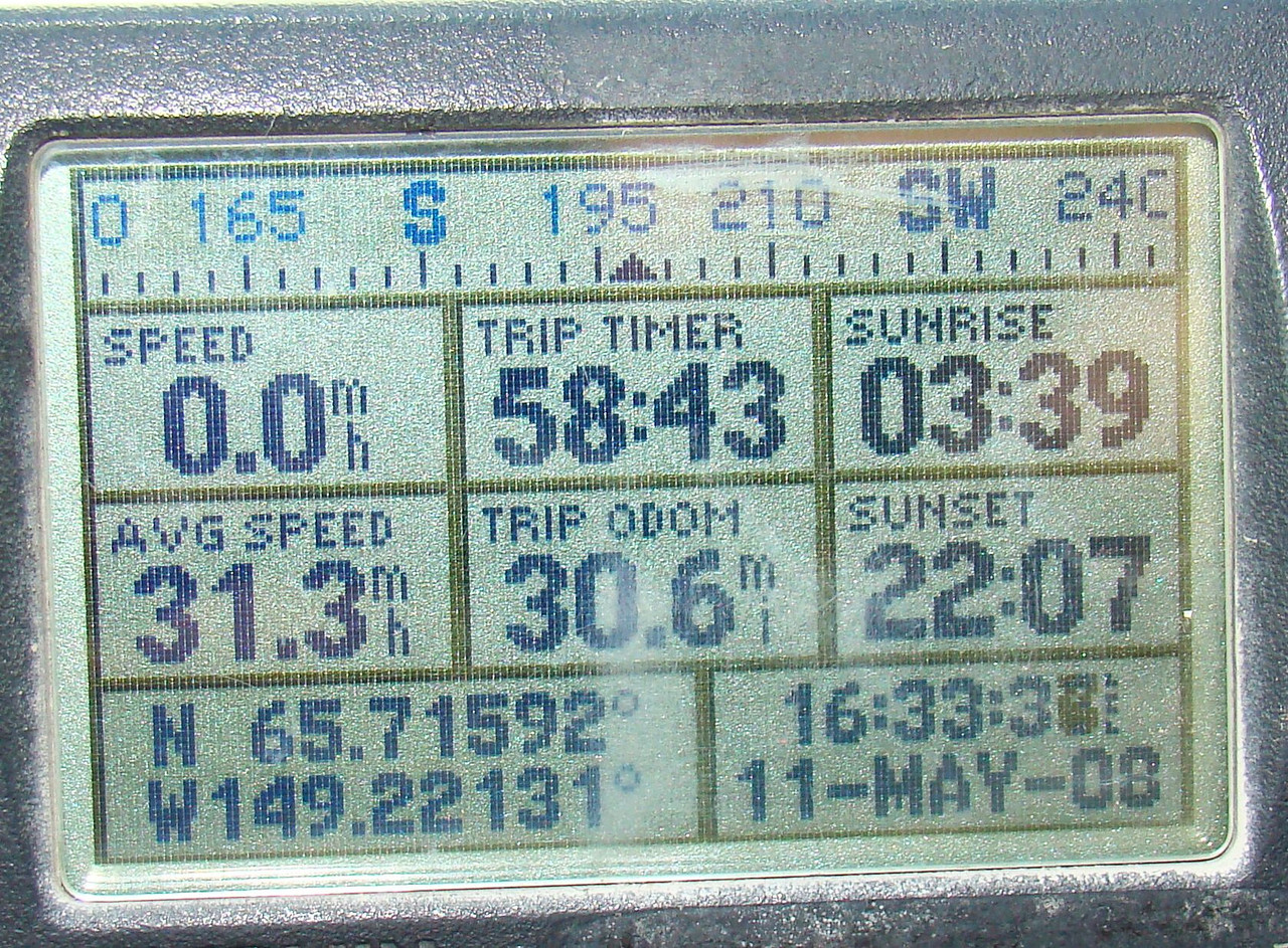 MP30  N65.71592, W149.22131, Elevation: The fact that the GPS is reading .6 miles over the original 30 is due to the by-pass north of Mile 18 adding .6 mile to the total distance in avoiding the previous treacherous drop down to Hess Creek.