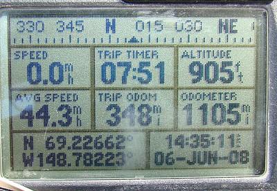 6/6/08 3:35PM GPS @ MP340: N69.22662, W148.78223, Elev: 905'