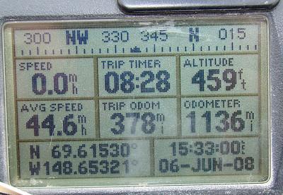 6/6/08 4:32PM GPS @ MP370: N69.61530, W148.65321, Elev: 459'