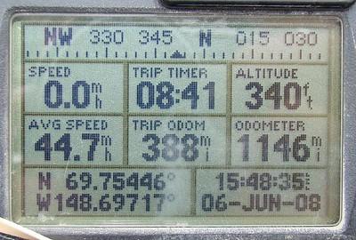 6/6/08 4:49PM GPS @ MP380: N69.75446, W148.69717, Elev: 340'