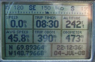 7/4/08 11:13PM  GPS @ MP390: N69.89364, W148.79668, Elev: 242'