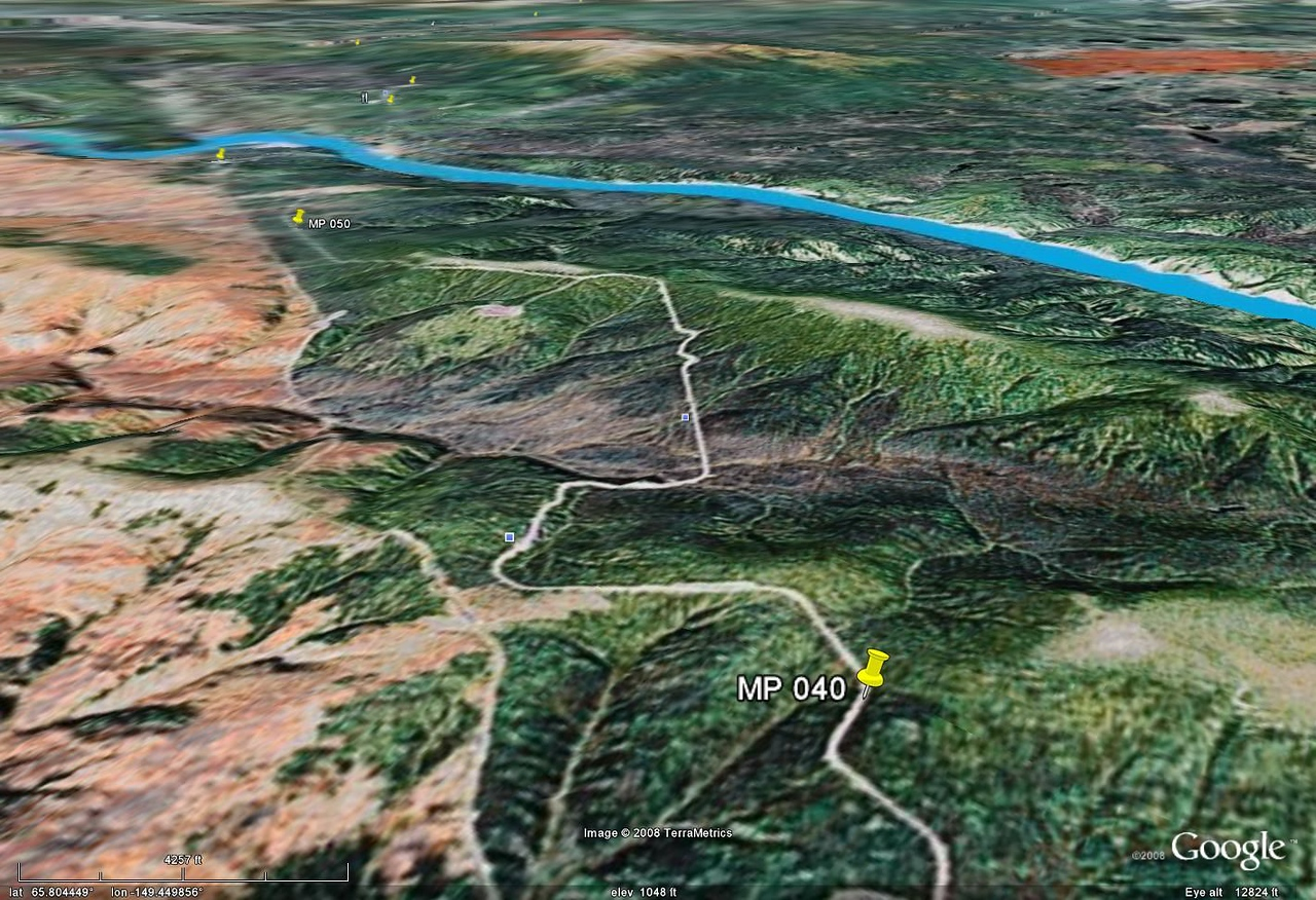 More Google Earth, showing that the Yukon River isn't all that much farther for the rider already sick and tired of gravel.  The bad news - there are almost as many miles of gravel north of the river for the rider whose goal is the Arctic Circle.