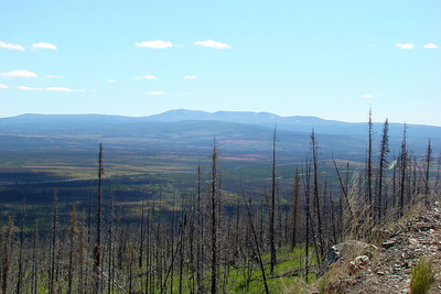 The view from the top, looking south over the highway and pipeline.