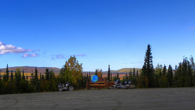 A rider can't travel this far without getting a photo of his/her bike in front of the Arctic Circle sign.  This is the second time for the Gold Wing.  The first was when there was snow on the ground, and snow and ice on the road from the Yukon river north.
