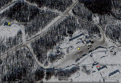 This Google Earth view, obviously from a wintertime satellite shot, illustrates the relative location of various attractions and services at Coldfoot.