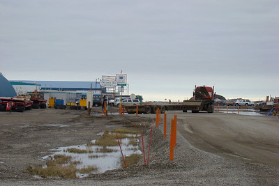 Past the Arctic Caribou Inn on Airport Way you come to this intersection.  By turning left (as this truck has just done), you arrive at the Prudhoe Bay Hotel on the left.