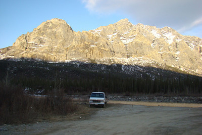 5/12/08 9:49 PM, Mile 204.3 - What nicer place cold be found to spend the night?  Right next to the Middle Fork of the Koyukuk River, with a view of the sun setting on Sukukpak Mt.