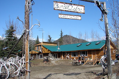 May 12, 2008  11:40 AM - The entrance to Boreal Lodging.  A gift shop in front, with the owners' home attached at the far end.