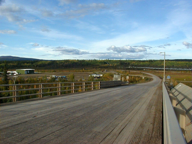 7/30/04 - Lower end of the Yukon River bridge.  The damaged planking was replaced in late 2007.