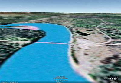 The Google Earth view looking downstream over the Yukon River Bridge.
