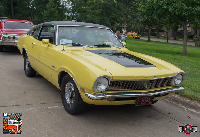 """Who is the Gravity Drags Fastest  Coaster ?"" Award ~ Robert and Kelsey Ball, Rapid City, SD ~ 1970 Ford maverick"