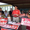 John Leahy announced his run for School Committee in 2001, with his father Dan in the background. SUN FILE PHOTO