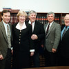 Leahy resigned from the City Council in March 1998. With him at the press conference are then-Councilor Grady Mulligan, then-Mayor Eileen Donoghue, Leahy, then-City Manager Brian Martin and Larry Martin, who succeeded Leahy on the council. SUN FILE PHOTO