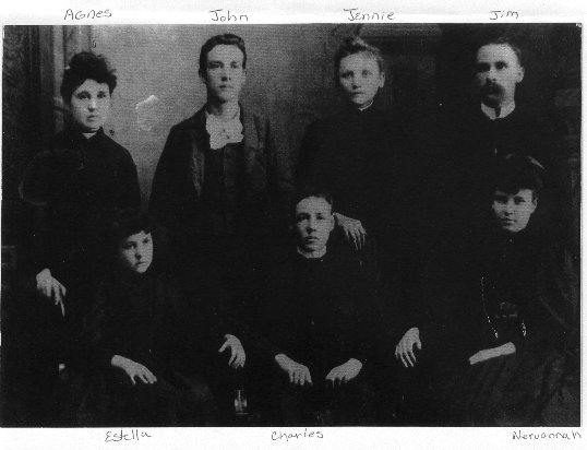 Children of Samuel Berry Porterfield:<br /> Agnes, John, Jennie (Jim's wife), Jim<br /> Estella, Charles, Nervannah