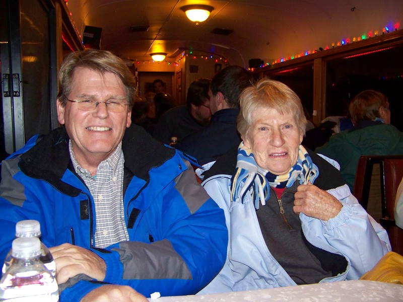 Dan Yaden - 2009 (Dec) - Age 55 - With mother Betty Yaden (age 82) on the Georgetown Loop Railroad - Georgetown, CO