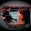 Dan Yaden, Jr. - 1978 (July) - Age 3 Mos - Danny cooling off with Mom (Julie) - Yakima, WA