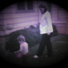 Dan Yaden, Jr. - 1981 (June) - Age 3 - In the front yard with Mom (Julie) who is pregnant with Matthew - Queen Avenue Home - Yakima, WA (Captured from 8mm film)