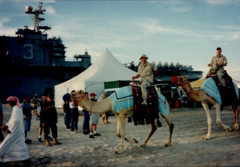 Dan Yaden, Jr. (far right) - 1998 (Dec) - Age 20 - Dan and his Marine buddy try out the local transportation in Dubai - Tour of duty with the U.S. Marines of the 31st MEU (Marine Expeditionary Unit) aboard the USS Belleau Wood in the Persian Gulf - Operation Desert Fox