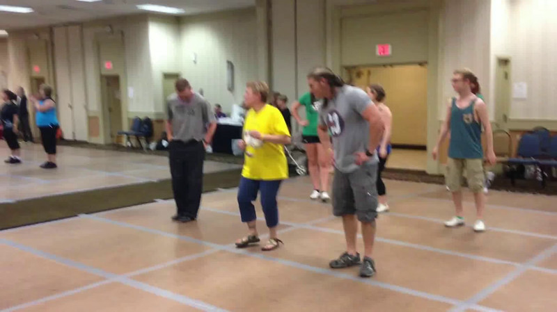 "Video Archive Clip 2014 (May 23) - Yaden Clogging - Julie, Matthew (age 32) & Steven (age 26) dance the ""Hittin' the Hay"" routine at the workshop fun dance - Memorial Day Spectacular Clogging Workshop - Cincinnati, OH - Clogging Memoirs Series (2 min 15 sec)"