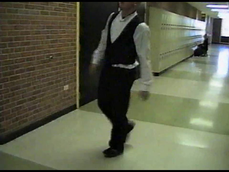 Video Archive Clip 2005 (Dec) - Yaden, Steven R. - Age 17 - Clog dance demo - Steve does some impromptu clogging to include on his college recruitment tape - Thompson Valley High School - Loveland, CO - Original VHS Series (1 min 3 sec)