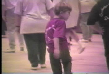 "Video Archive Clip 1995 (11) - Yaden Clogging - Julie, Jacob (age 11) & Steven (age 7) Clog to ""Sleigh Ride"" at the Midwest Clogging Workshop - Steven's belt-loop dance partner is Woody from the movie ""Toy Story"" - Erlanger, KY - Clogging Memoirs Series (5 min 28 sec)"