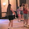 Video Archive Clip 1999 (May 29) - Yaden Clogging - Julie (age 45, in USMC shirt), Jake (age 14, in striped shirt/red hat), and Steve (age 11, in red shirt) dance a couple run-throughs of the Sherry Glass-Cox routine along with Jake's clogging friend Joey - Memorial Day Weekend Clogging Workshop - Columbus, OH - Clogging Memoirs Series (6 min 8 sec)