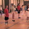 "Video Archive Clip 1999 (May 29) - Yaden Clogging - Julie (age 45, back row in USMC shirt) and Steven (age 11, center in red shirt) dance the ""Crazy"" routine - Memorial Day Weekend Clogging Workshop - Columbus, OH - Clogging Memoirs Series (3 min 10 sec)"