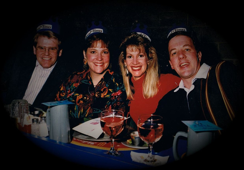 Dan & Julie Yaden (left) - 1988 (Nov) - Age 34 - With friends Melinda and Charlie at the Medieval Times Dinner & Tournament - Dallas, TX