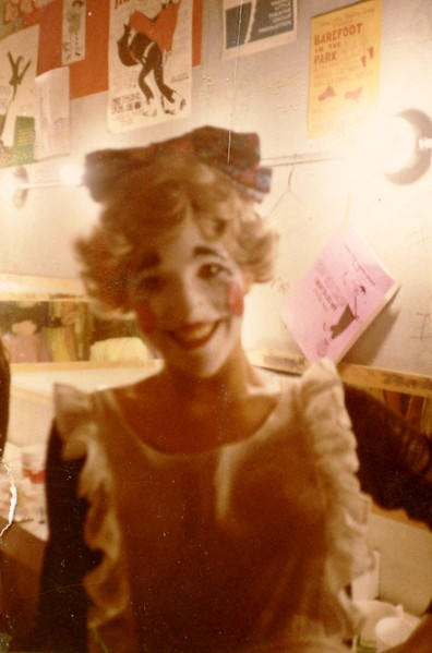 """Julie Schreiner - 1970 (July) - Age 16 - """"Stop the World, I Want to Get Off!"""" - Greenroom of Yakima Little Theatre - Yakima, WA<br /> <br /> Dan's note:<br /> <br /> Julie and I met for the first time at age 15 during auditions for this show over the 1969 Christmas break.  My crush on her was pretty much instantaneous; kind of a nerd-meets-cheerleader sort of thing.  Julie's initial reaction to me was obviously not the same, but since she was one of the pretty girls not ashamed to hobnob with nerds, she greeted me kindly and then I suspect was off in search of a quarterback.<br /> <br /> We started rehearsals for the show in late March of 1970, which was convenient because Julie and I both turned 16 in March---she on the 18th and me on the 21st---and we both could now drive!  Julie had a part in the show as the younger daughter and I managed to make it into the chorus,  so for the next several months I spent most of my time standing on the stage risers staring at Julie and hoping she'd throw a glance my way.<br /> <br /> All the cast and chorus members in the show were made up in clown face, so we spent a fair amount of time in the greenroom before each performance getting into makeup.  For whatever reason, before the last couple of performances Julie came over to my chair and volunteered to help me with my makeup.  Looking back on it now, I guess it was my Jim Carey moment from the movie 'Dumb & Dumber' when he says to the million-to-one girl of his dreams, """"So you're telling me there's a chance?!""""<br /> <br /> Our first date was at the closing night cast party on July 11, 1970 and I've been on Cloud Nine ever since......."""