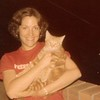 """Julie [Schreiner] Yaden - 1977 (Summer) - Age 23 - With """"Socrates"""" on the balcony of the 36th floor apartment (#36A) of Manhattan Plaza at 42nd Street & 9th Avenue - New York City, NY"""
