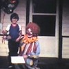 """Video Archive Clip 1983 (Apr) - Yaden, Daniel C. Jr. - Danny's 5th birthday (April 20) - Queen Avenue House - Yakima, WA - Matthew (age 20 mos) - 8mm Series (3 min 17 sec)<br /> <br /> Dad' note:<br /> <br /> Ahh, yes, nothing celebrates the big """"5"""" like hangin' out with the grandparents and a Creepy Clown.  Watch Matthew, it's hysterical, he doesn't want the guy anywhere near his high chair......"""
