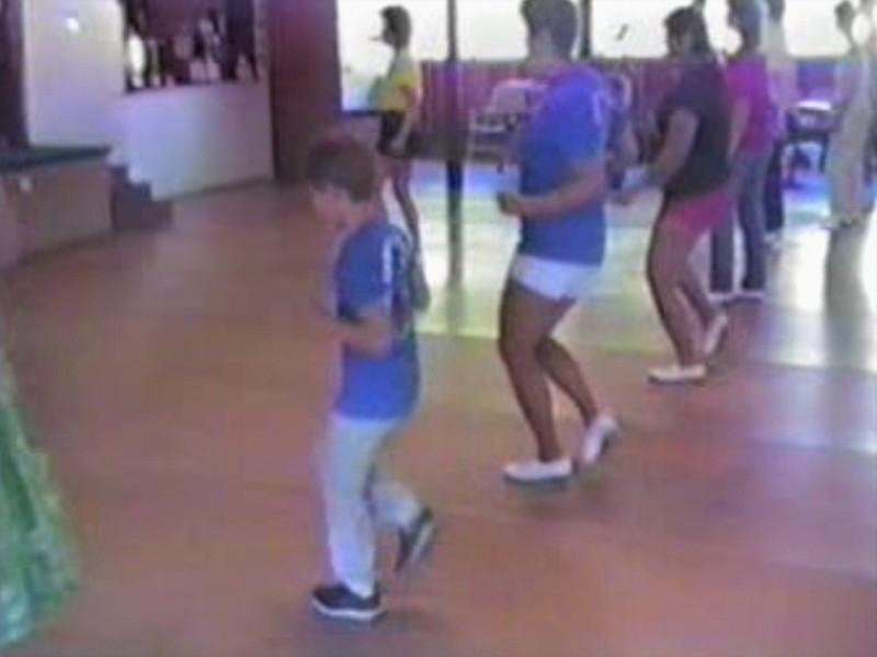 "Video Archive Clip 1987 (Aug) - Yaden Clogging - Julie (age 33, blue shirt/white shorts) and Danny (age 9, blue shirt/gray sweats) dance the ""Footloose"" routine - Circle 8 Ranch Clogging Workshop - Cle Elum, WA (3 min 21 sec)"