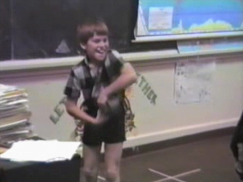 Video Archive Clip 1988 (May) - Yaden, Daniel C. Jr. - Danny (age 10) wrestles with the school magnet - Travis Elementary School - Corsicana, TX - Jacob (age 3) - Mixed Relations - Edited in May 1988 (2 min 6 sec)