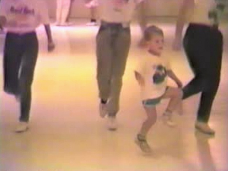 Video Archive Clip 1988 (Sept) - Yaden, Jacob B. - Age 3 - Jacob dances with the Yellow Rose Cloggers from Houston, TX - Armadillo Stampede Clogging Workshop - Oklahoma City, OK - Clogging Memoirs Series (3 min 2 sec)