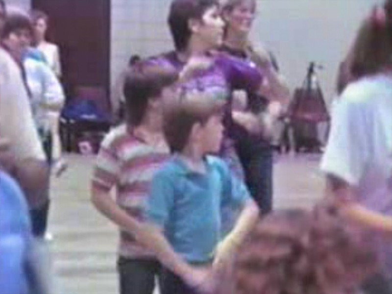 """Video Archive Clip 1989 (Jan) - Yaden Clogging - Julie & the boys learn the """"Rattlesnake Shake"""" routine - Danny (age 10), Matthew (age 7), Julie (age 34) - Yellow Rose Clogging Workshop - Houston, TX - Clogging Memoirs Series (3 min 28 sec)"""