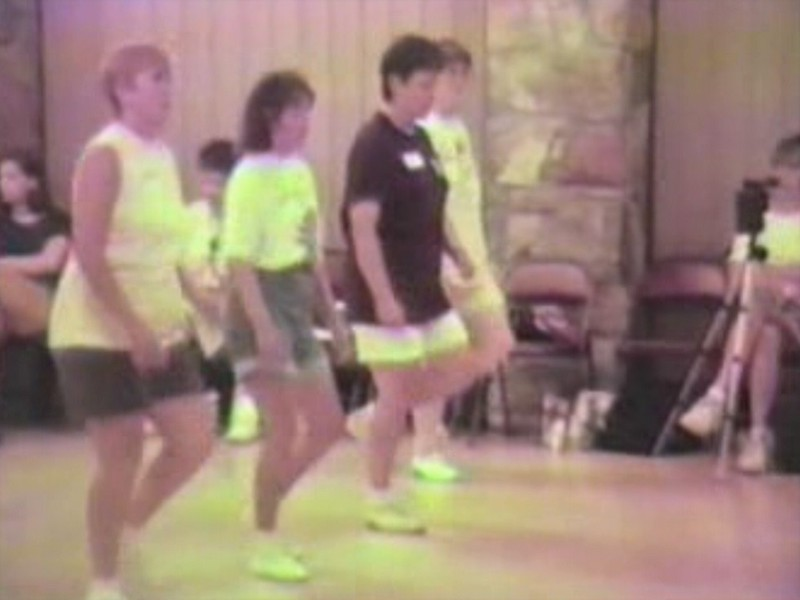 """Video Archive Clip 1995 (Aug) - Yaden Clogging - Julie (age 41, dark shirt) dances the  """"A Swing Like That"""" routine by instructor Tandy Barrett - Camp Clog Workshop - Slade, KY - Clogging Memoirs Series (2 min 24 sec)"""