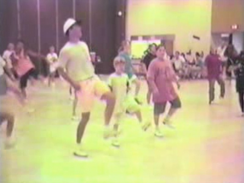 "Video Archive Clip 1996 (Aug) - Yaden, Jacob & Steven - Jacob (age 11) and Steven (age 8) dance next to instructor Steve Smith during his ""Kung Fu Fighting"" routine at the fun dance - Labor Day Weekend Clogging Workshop - Columbus, OH - Clogging Memoirs Series (2 min 45 sec)"